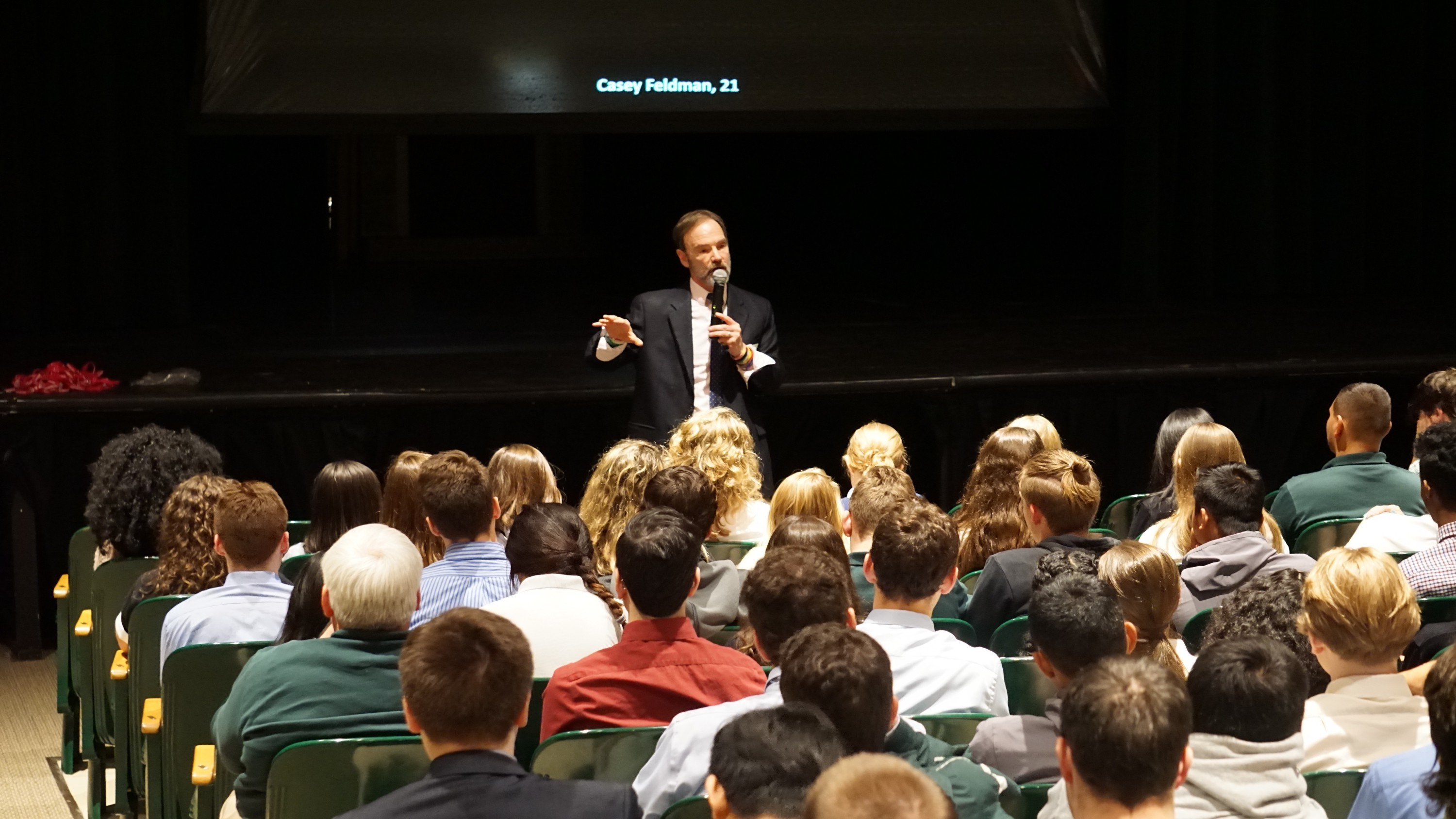 Joel Feldman, founder of the Casey Feldman Memorial Foundation, warns Northwest Catholic students of dangers of distracted driving.
